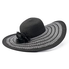 Women's Flower & Striped Floppy Hat