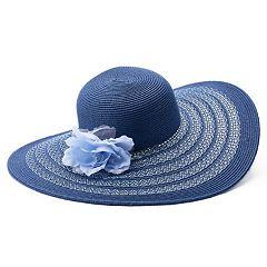 Women's Flower & Striped Floppy Hat