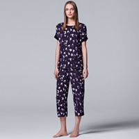 Women's Simply Vera Vera Wang Pajamas: Tee & Capri Pants Set
