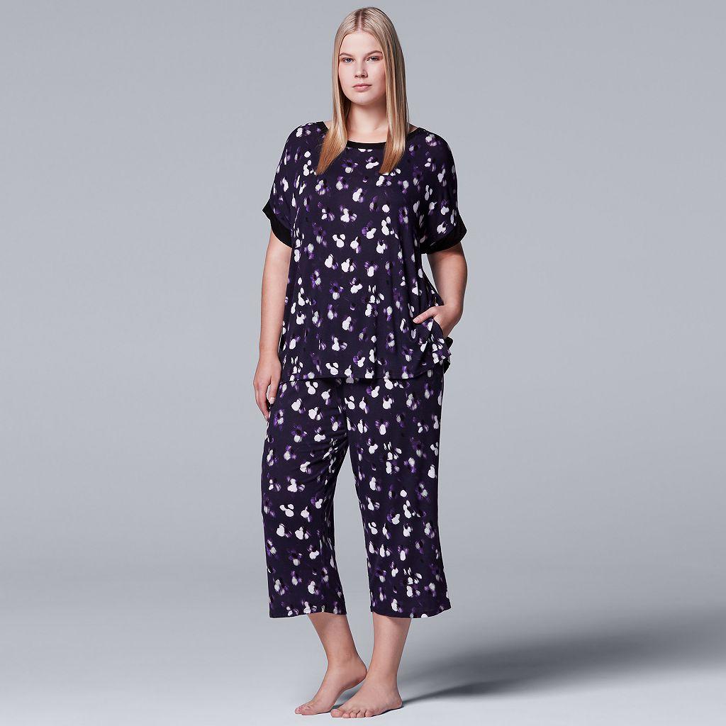 Plus Size Simply Vera Vera Wang Pajamas: Tee & Capri Pants Set