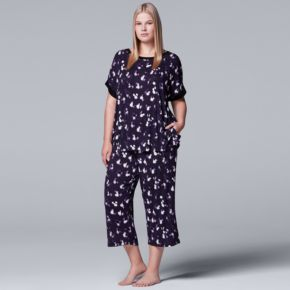 Plus Size Simply Vera Vera Wang Pajamas: Tee & Capri Pants Set