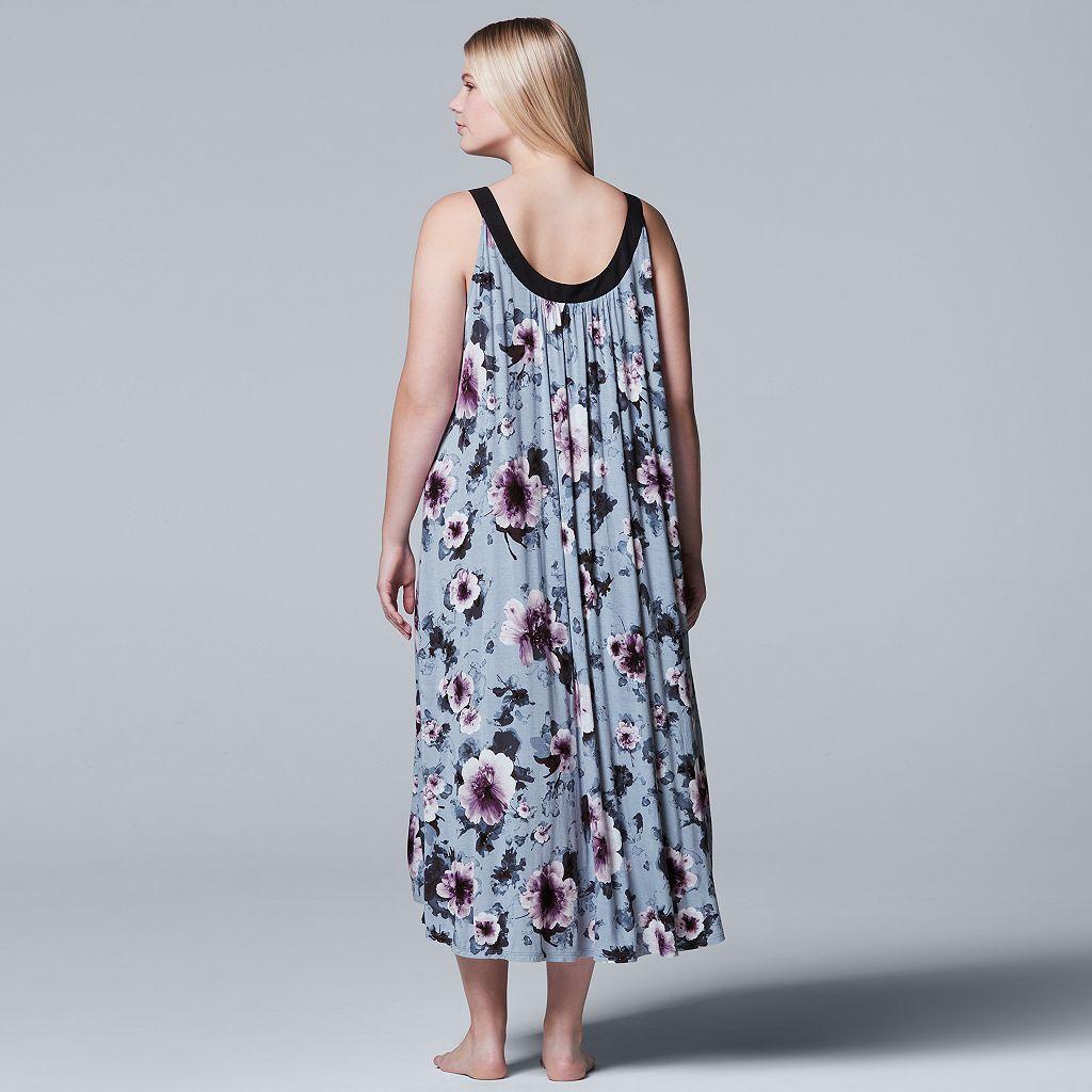 Plus Size Simply Vera Vera Wang Pajamas: Long Sleep Chemise