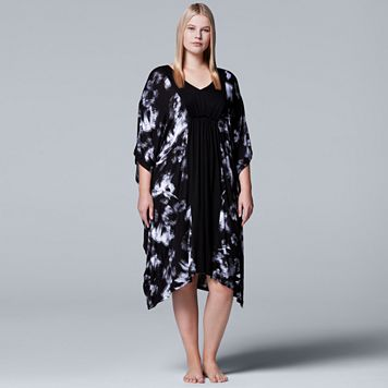 Plus Size Simply Vera Vera Wang Pajamas: Short Caftan Nightgown