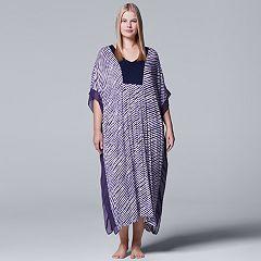 Plus Size Simply Vera Vera Wang Pajamas: Long Sleep Caftan Nightgown