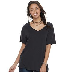 Juniors' Awake Slouchy Black V-Neck Tee