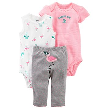 Baby Girl Carter's Flamingo Bodysuit, Striped Bodysuit & Polka-Dot Pants Set