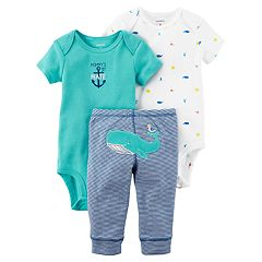 Baby Boy Carter's Whale Bodysuit, Embroidered Bodysuit & Striped Pants Set