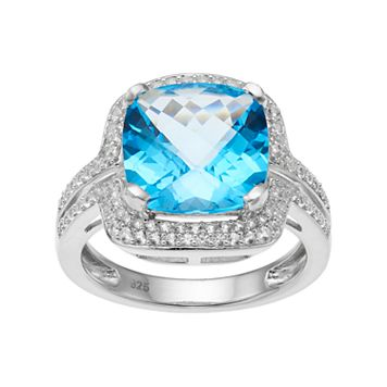 Sterling Silver Blue Topaz & Lab-Created White Sapphire Square Halo Ring