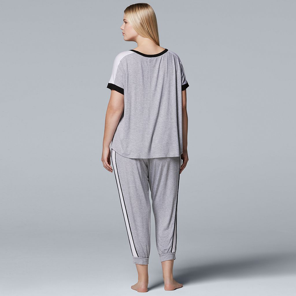 Plus Size Simply Vera Vera Wang Pajamas: Tee & Jogger Pants Set