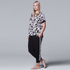 Plus Size Simply Vera Vera Wang Pajamas: Tee & Jogger Pants Set