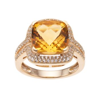 14k Gold Over Silver Citrine & Lab-Created White Sapphire Square Halo Ring
