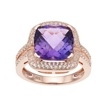 14k Rose Gold Over Silver Amethyst & Lab-Created White Sapphire Square Halo Ring