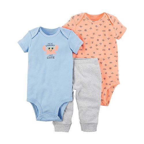 967ad24ae Baby Boy Carter's Crab Bodysuit, Print Bodysuit & Striped Pants Set