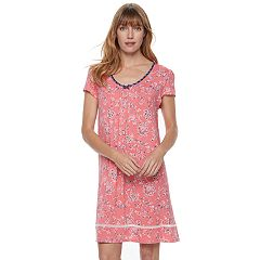 Women's Croft & Barrow® Pajamas: V-Neck Short Sleeve Nightgown