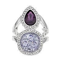 Jennifer Lopez Simulated Drusy & Teardrop Double Halo Stretch Ring