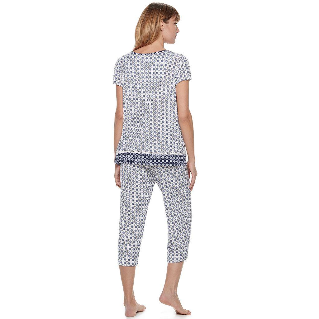Women's Croft & Barrow® Pajamas: V-Neck Tee & Capris 2-Piece PJ Set