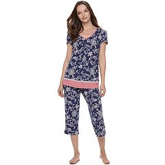 Women's Croft & Barrow® Pajamas: V-Neck Tee & Capris 2 pc PJ Set