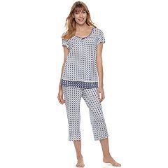 Women's Croft & Barrow® Pajamas: V-Neck Tee & Capris 2 pc PJ Set