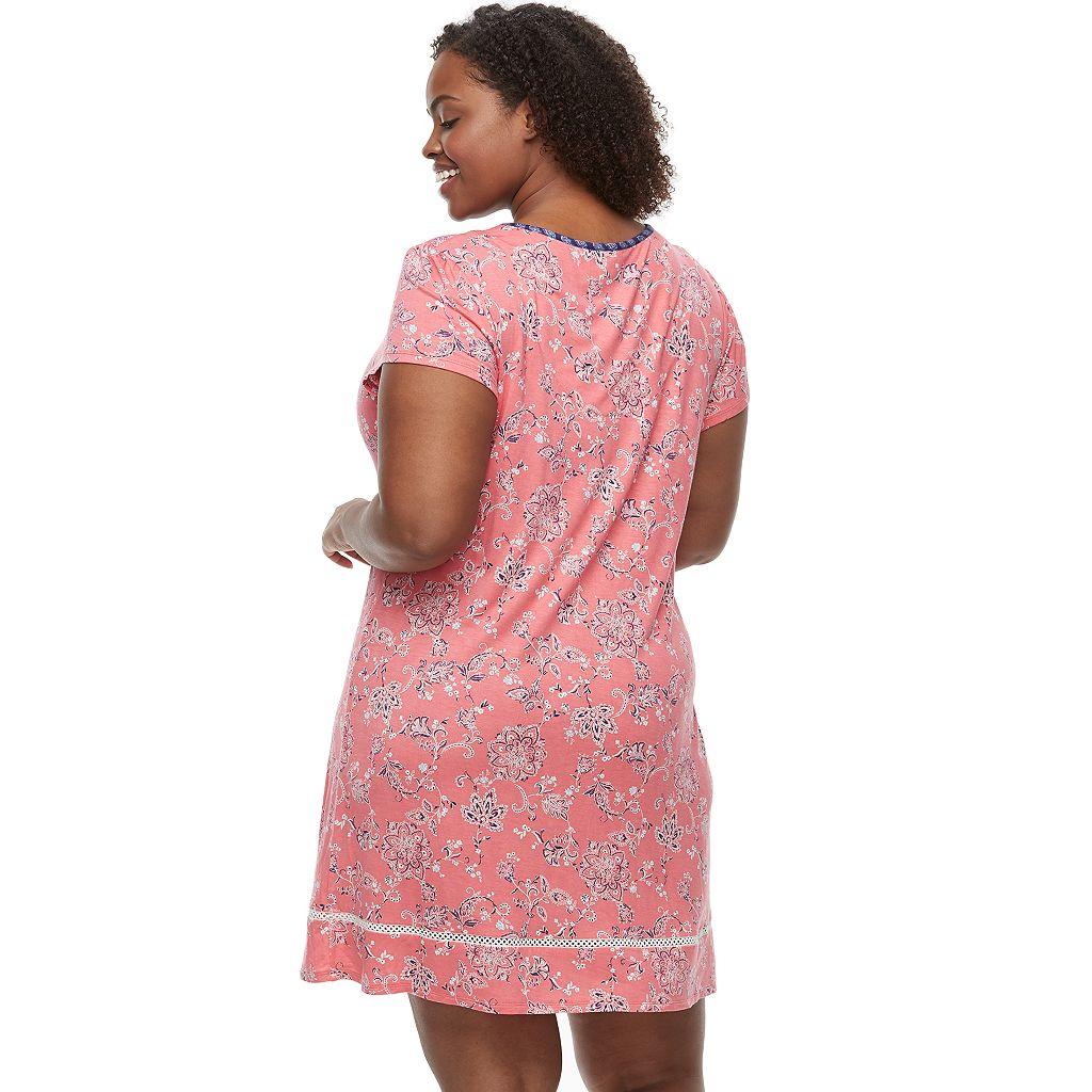 Plus Size Croft & Barrow® Pajamas: V-Neck Short Sleeve Nightgown