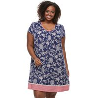Plus Size Croft & Barrow® Pajamas: V-Neck Short Sleeve Nightgown