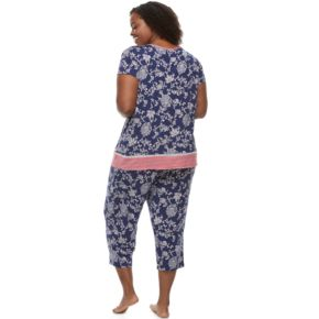 Plus Size Croft & Barrow® Pajamas: V-Neck Tee & Capris 2-Piece PJ Set