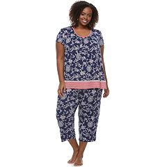 Plus Size Croft & Barrow® Pajamas: V-Neck Tee & Capris 2-Piece PJ Set