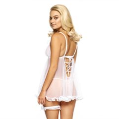 Women's Jezebel Lauryn Ruffle Lace-Up Babydoll Chemise & G-String Thong Set