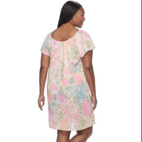 Plus Size Miss Elaine Printed Short Nightgown