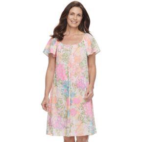 Petite Miss Elaine Essentials Printed Short Nightgown