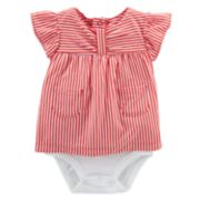 Baby Girl Carter's Striped Mock-Layer Bodysuit