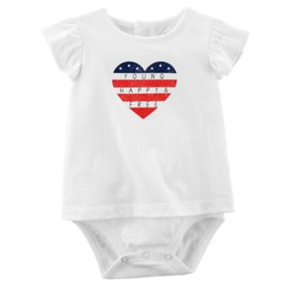 """Baby Girl Carter's """"Young Happy & Free"""" Heart American Flag Bodysuit"""
