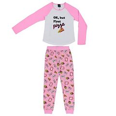 Girls 4-16 Jellifish 'OK, But First Pizza' Top & Bottoms Pajama Set