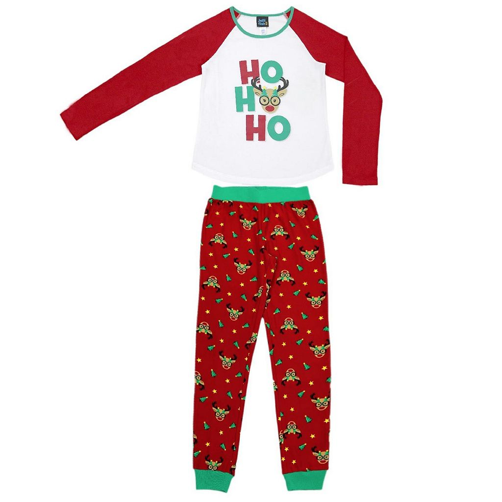 Girls 4-16 Jellifish Christmas Top & Bottoms Pajama Set