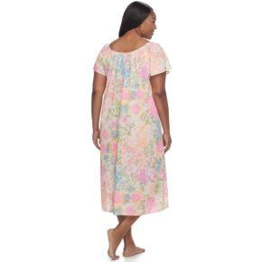 Plus Size Miss Elaine Printed Long Nightgown