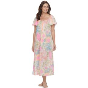 Petite Miss Elaine Essentials Printed Long Nightgown