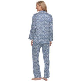 Women's Miss Elaine Essentials Printed Satin Shirt & Pants Pajama Set
