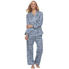 Women's Miss Elaine Essentials Printed Satin Shirt & Pants Pajama Set