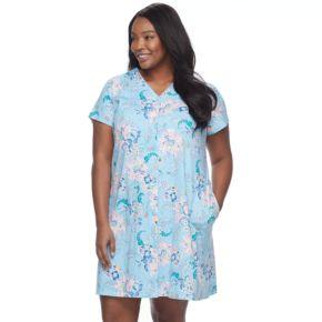 Plus Size Miss Elaine Essentials Printed Short Robe