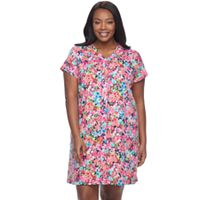 Plus Size Miss Elaine Essentials Printed Long Robe