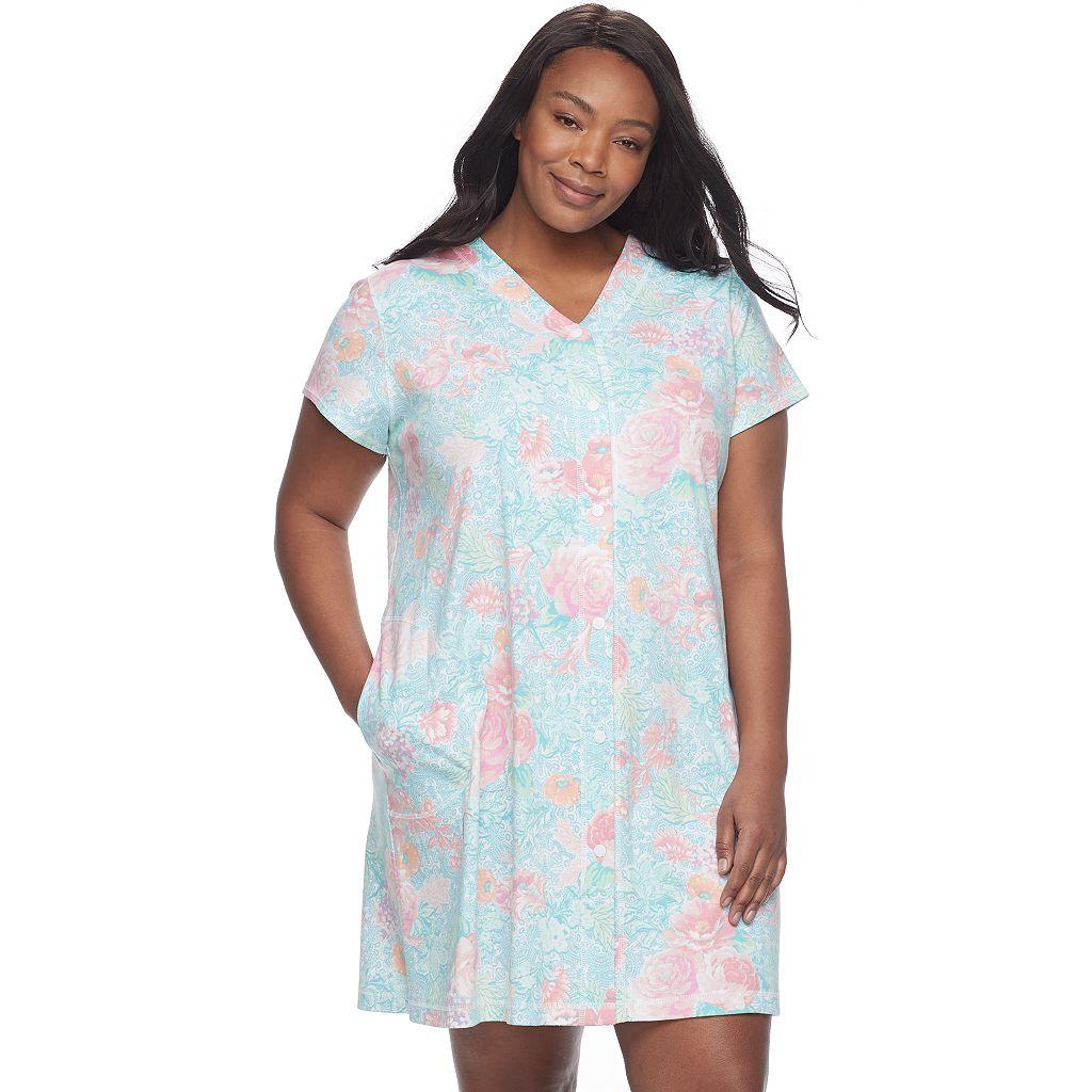 Plus Size Miss Elaine Essentials Printed Long Robe