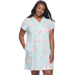 Plus Size Miss Elaine Essentials Printed Short Robe