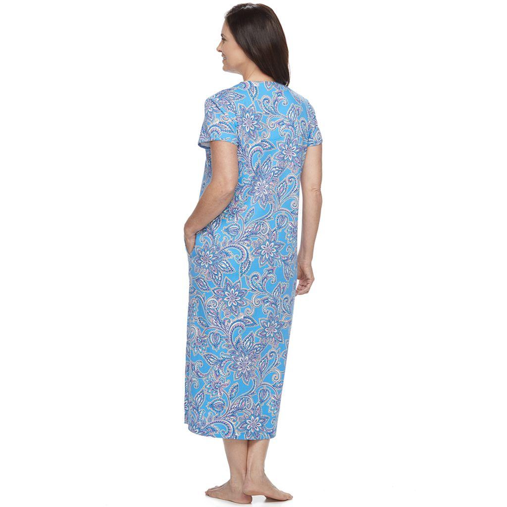 Women's Miss Elaine Essentials Printed Long Robe