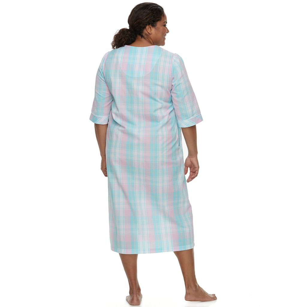 Plus Size Miss Elaine Essentials Long Seersucker Robe