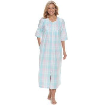 Petite Miss Elaine Essentials Long Seersucker Robe