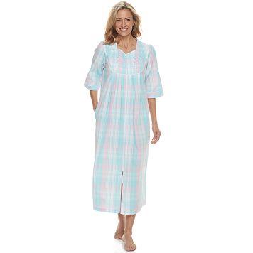 Petite Miss Elaine Essentials Long Seersucker Robe