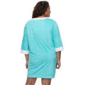 Plus Size Croft & Barrow® Velour Terry Zip Front Duster Robe