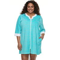 Plus Size Croft & Barrow® Velour Terry Zip Front Duster Robe