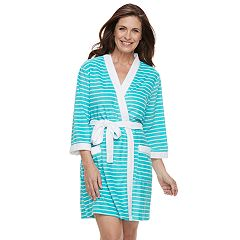 Women's Croft & Barrow® Colorblock Trim Wrap Robe