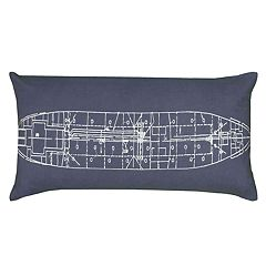 Rizzy Home Boat Schematic Oblong Throw Pillow
