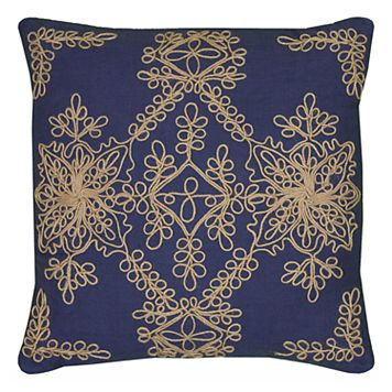 Rizzy Home Medallion Cord Embroidered Throw Pillow